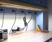 ALB series Aluminum LED Light Bar Fixture - Low Profile installed on work bench
