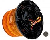 "4-3/4"" Amber LED Multi Mode Strobe Light Beacon with 8 LEDs: Back View."