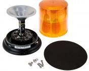 "SAE Class 1 LED Strobe Beacon - 6-1/4"" Amber LED Multi Mode Strobe Light Beacon: Open View"