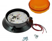 """2-1/2"""" Amber LED Strobe Light Beacon with 8 LEDs: Remove Lens To Access LEDs, Mounting Screws Included"""