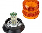 """4-3/4"""" Amber LED Strobe Light Beacon with 60 LEDs - Cosmetic Blemish: Twist Lens To Access LEDs  & Mode Switch"""