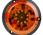 """4-3/4"""" Amber LED Strobe Light Beacon with 60 LEDs - Cosmetic Blemish: Top View"""