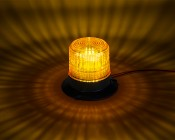 """4-3/4"""" Amber LED Strobe Light Caged Beacon with 60 LEDs: On Showing Beam Pattern."""