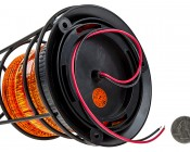"""4-3/4"""" Amber LED Strobe Light Caged Beacon with 60 LEDs: Back View With Size Comparison"""