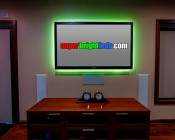 Green LED Light Strip Kit Installed Behind TV