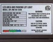 LED Parking Lot Light - 150W (320/400W MH Equivalent) LED Shoebox Area Light - 5000K - 15,000 Lumens