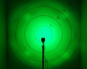 "2.5"" Square 12 Watt LED Mini Auxiliary Hunting and Fishing Light - 30 Degree Green: Shown On Target From Approximately 10'"