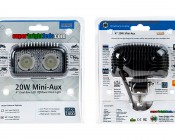 """20W Mini-Aux 4"""" Dual Row LED Off Road Work Light - CREE: Front & Back Of Packaging"""