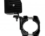 """Universal X-Clamp LED Light Mounts for 2-1/4"""" to 3"""" Roll Cage Tubes - 3"""" Square LED Auxiliary Lights: Profile View"""