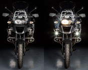 """10W Mini-Aux 2"""" Square LED Work Light: Installed on BMW Motorcycle"""