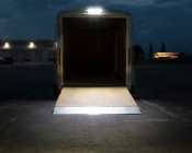 """16"""" RV Awning Lights: Shown Installed Over Trailer Gate In Natural White."""