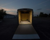 "9"" RV Awning Lights: Shown Lighting Inside Of Trailer In Natural White."