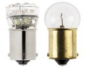 67 LED Bulb - 15 LED Forward Firing Cluster - BA15S Retrofit: Profile View Showing Size Comparison To 67 Stock Bulb