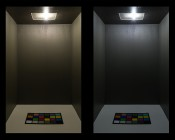 BA9s LED Bulb - 5 LED Tower: On Showing Natural White (Right) And Warm White (Left) Colors.