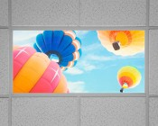 Even-Glow LED Panel Light - Balloon 1 LUXART Print - 2' x 4': Installed in Drop Ceiling