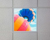 Even-Glow LED Panel Light - Balloon 1 LUXART Print - Dimmable - 2' x 2': Installed in Drop Ceiling
