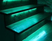 Slim Aluminum Profile Housing with Flange for LED Strip Lights: Installed in Basement Stairs
