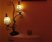 Candelabra LED Bulb, 21 High Power LEDs: Shown Installed In Bathroom Lamp Om Warm White.
