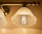 LED Vintage Light Bulb - ST18 Shape - Edison Style Antique Bulb with Filament LED: Installed In Bathroom Vanity