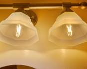 LED Vintage Light Bulb - T14 Shape - Radio Style LED Bulb with Filament LED: Installed In Bathroom Vanity