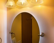 LED Vintage Light Bulb - T14 Shape - Radio Style LED Bulb with Filament LED: Installed In Bathroom Fixture