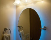 Weatherproof RGB LED Strip Light - Flexible Custom Length LED Tape Light with 9 SMDs/ft. - 3 Chip SMD LED 5050: Installed Behind Mirror In Bathroom