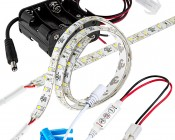 Battery Powered LED Light Strips Kit - Single Color - 2 Portable LED Light Strips: With In Line Option