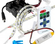 Battery Powered LED Light Strips Kit - Single Color - 2 Portable LED Light Strips: With Remote Option