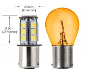 7507 (PY21W) LED Boat and RV Light Bulb - 18 SMD LED Tower - BAU15S Retrofit - 320 Lumens: Profile View