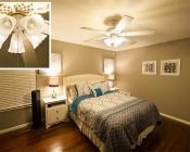 LED Vintage Light Bulb - T8 Shape - Radio Style Candelabra LED Bulb with Filament LED: Installed In Bedroom Ceiling Fan
