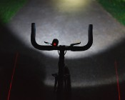 10W LED Bicycle Headlight and Headlamp: Shown Installed On Bicycle. Also Shown With LED Tail Light With Laser Lines On Ground (Sold Separately).