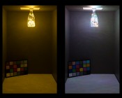 LED Bottle Light Bulbs w/ Integrated LED Fairy Lights - 50 Lumens: (Left) Warm White (Right) RGB