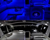 G4 LED Bulb - Dual Color - Bi-Pin LED Disc: Shown In Yacht Cabin In Blue (Night Vision) And White.