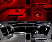 G4 LED Bulb - Dual Color - Bi-Pin LED Disc: Shown In Yacht Cabin In Red (Night Vision) And White.
