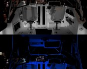 G4 LED Bulb - Dual Color - Bi-Pin LED Disc: Shown Installed On Boat In White And Blue (Night Vision) Option.