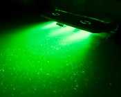 LED Underwater Lights for Boats and Docks - 120W: Shown Installed On Boat Stern In Green, Red, Blue, And White.