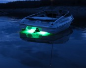 RGB LED Underwater Boat Lights and Dock Lights - Double Lens - 120W: Shown Installed On Boat Transom In Green.
