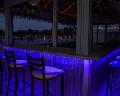 High Power RGB LED Weatherproof Flexible Light Strips - WFLS-RGBX2 Attached Under Outdoor Bar