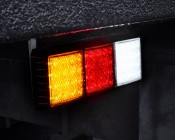 LED Rear Combination Lamps - Truck Stop/Turn/Tail/Reverse Lights w/ Removable Light Heads - Pigtail Connector: Shown Installed On Box Truck With Turn Signal, Brake Light, And Reverse Light Active.