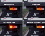 LED Rear Combination Lamps - Truck Stop/Turn/Tail/Reverse Lights w/ Removable Light Heads - Pigtail Connector: Showing Different Light Modes.