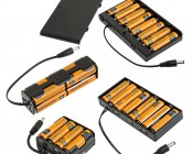 12V DC Battery Power Supply - 8-Cell AA Battery Holder: Shown with Batteries Installed