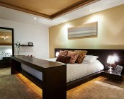 R20 LED Bulb - 6 Watt - Dimmable LED Flood Light Bulb: Shown Installed In Recessed Bedroom Ceiling Fixtures.