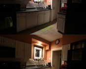 R20 LED Bulb - 6 Watt - Dimmable LED Flood Light Bulb: Shown In Recessed Kitchen Light And On In Natural White (Top) And Warm White (Bottom).