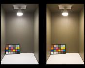 BR30 LED Bulb - 70 Watt Equivalent - Dimmable LED Flood Light Bulb - 700 Lumens: Illuminated Inside Box Natural White (Left) and Warm White (Right)