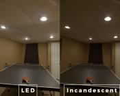 BR30 LED Bulb - 70 Watt Equivalent - Dimmable LED Flood Light Bulb - 700 Lumens: Incandescent and LED Comparison Illuminating Table Tennis Table