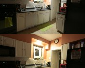 BR40 LED Bulb - 18 Watt - Dimmable LED Flood Light Bulb: Shown Installed In Kitchen Can Light In Natural White (Top) And Warm White (Bottom).