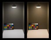 BR40 LED Bulb - 130 Watt Equivalent - Dimmable LED Flood Light Bulb - 1,300 Lumens - Illuminated In Box Natural White (Left) Warm White (Right)
