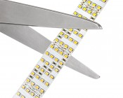 Bright White LED Strip Light Reel - 98ft Quad Row LED Tape Light with 132 SMDs/ft. - High CRI - 1 Chip SMD LED 2835: Cut Strips Along Solder Point Lines