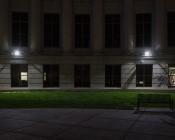 High Power 50W LED Flood Light Fixture: Shown Installed On Building.