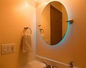 LED Vintage Light Bulb - Decorative F15 LED Bulb w/ Filament LED - Dimmable Blunt Tip Candle Bulb: Installed in Bathroom Vanity Light Fixture